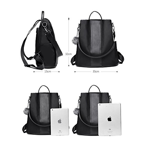 Shoulder Bag Nylon Travel Anti Backpack Blue theft Women Purse Rucksack School 8xPERqz