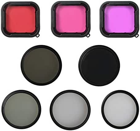 10-in-1 Professional 55mm Filter Lens Accessories Kit Compatible with GoPro Hero (2018) GoPro Hero 7 6 5 with CPL, UV, Star, ND2, ND8, Purple, Red, Pink Lens, Adapter Ring and Lens Cap (A)