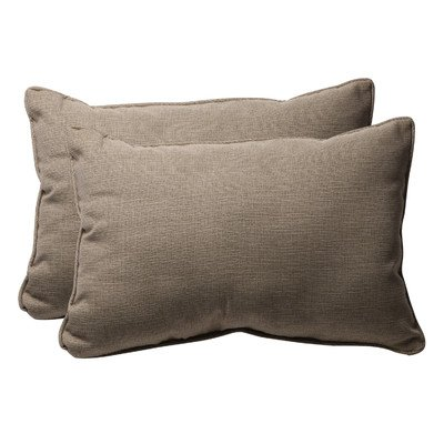 Pillow Perfect Taupe Textured Solid Outdoor Toss Pillows