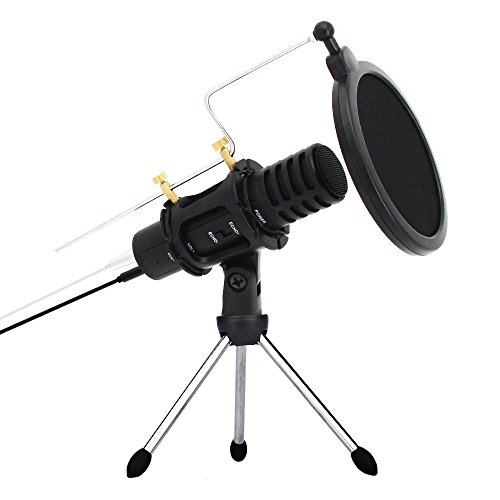 Portable Mini Condenser Microphone for Iphone Andriod Phone With Stand Built-in Sound Card Echo Recording Karaoke Singing by XIAOKOA (A1-White)