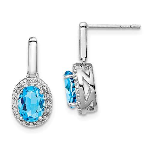 - 925 Sterling Silver Swiss Blue Topaz Oval Post Stud Drop Dangle Chandelier Earrings Fine Jewelry Gifts For Women For Her