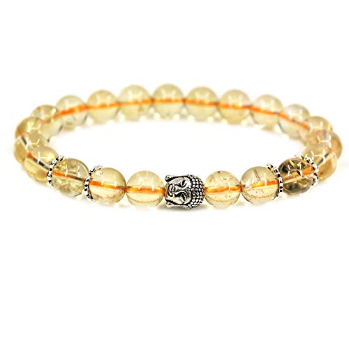 - Natural AA Grade Citrine with 925 Sterling Silver Buddha Head Gemstone 8mm Round Beads Stretch Bracelet 7