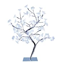 Simple Designs NL2007-CHR Morning Glory LED Lighted Decorative Tree, Small, White