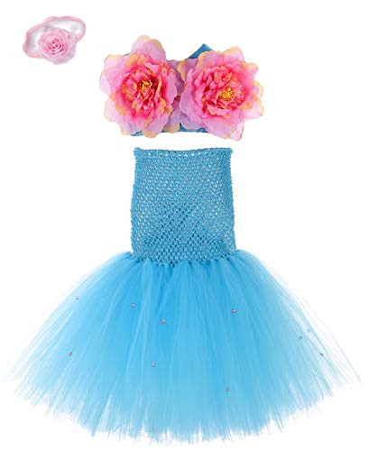 (Tutu Dreams Birthday Mermaid Princess Dress for Girls 2 Pcs Little Mermaid Party Supplies Favors (X-Large, Mermaid)