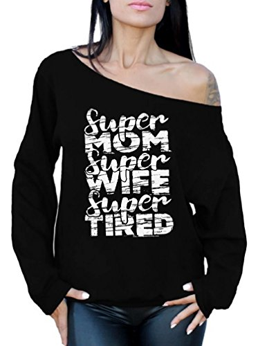 (Awkwardstyles Women's Sexy Off The Shoulder Slouchy Oversized Sweatshirt (Small, Super Mom Super Wife))