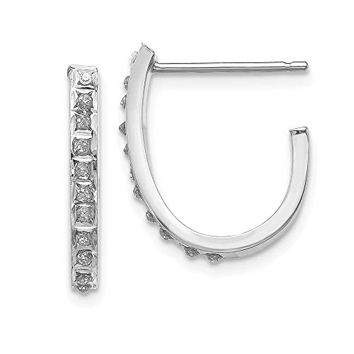 14k White Gold Diamond Fascination Hoop Post Stud Earrings Ear Hoops Set Fine Jewelry Gifts For Women For Her