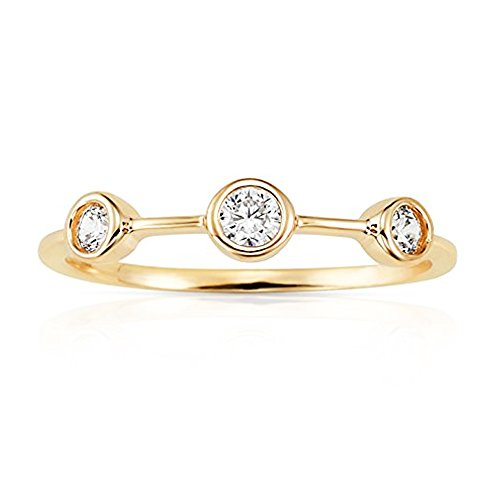 Jewel Connection Bezel Set Three Separated CZ Stone Stackable Promise Ring in 14K Yellow Gold for Women and Girls (6)