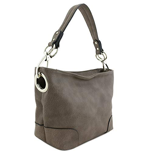 Hobo Shoulder Bag with Snap Hook Hardware Small (Light ()