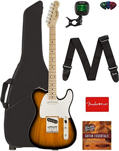 Fender Squier Affinity Series Telecaster Guitar - Maple Fingerboard, 2-Color Sunburst Bundle with Gig Bag, Tuner, Strap, Picks, and Austin Bazaar Instructional DVD