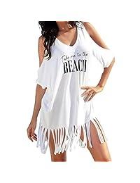 Jarsh - Vestido de Playa con Estampado de Letras de la Playa con la Borla Take Me to The Beach
