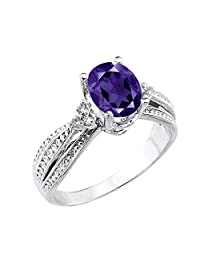 10k White Gold Diamond-Accented Band Oval Amethyst Engagement Ring (Size 7)