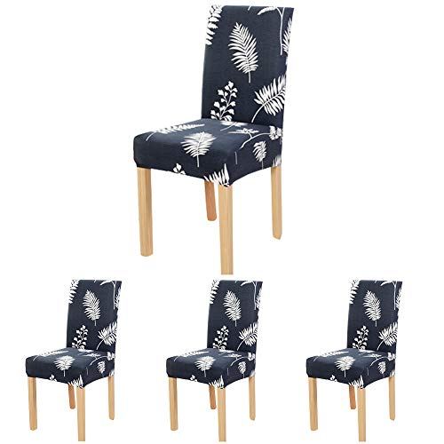 Fern Slipcover - ColorBird Plant Series Spandex Dining Chair Slipcovers Removable Universal Stretch Chair Protective Covers for Dining Room, Hotel, Banquet, Ceremony (Set of 4, Fern Leaf)