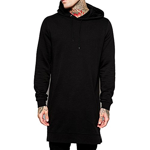 Mens Hip Hop Classic Pullover Long Hoodie Super Longline Muscle T-Shirt (S)