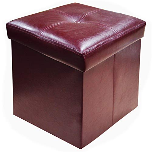 YIFONTIN Storage Ottoman Cube Chest Collapsible Footstool Basket Picnic Corner Seat Versatile Space-Saving Foldable Box 15X15X15 Faux Leather, Brown (Ottoman Versatile)