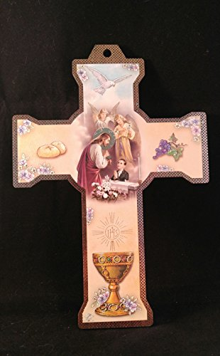 My First Communion Memory,Boy, Wood Wall Cross Jesus Holy Spirit and Guardian Angels.Imported From Italy. Recuerdo De Mi Primera Comunion Boys Imported