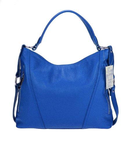 Made Italy - Bolso al hombro para mujer negro 37x47x17 cm (BxHxT) azul cobalto