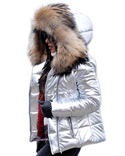 Aofur Womens Ladies Quilted Winter Coat Fur Collar Hooded Down Jacket Parka Outerwear (X-Large, Silver)