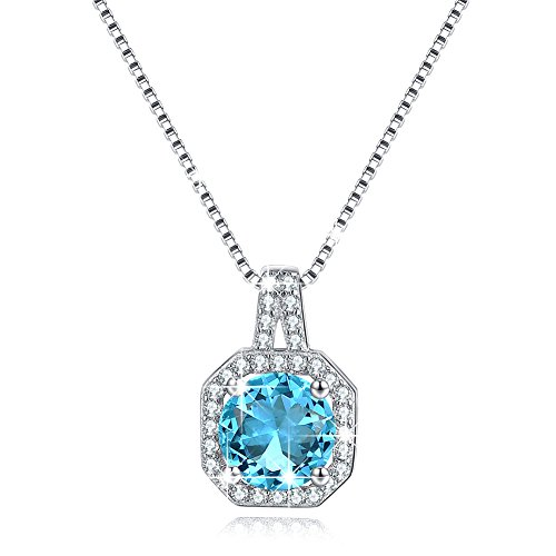 Solitaire Cubic Zirconia CZ Birthstone Necklace December Blue Topaz Halo Diamond Pendant Necklace Sterling Silver - Topaz Stone Swarovski