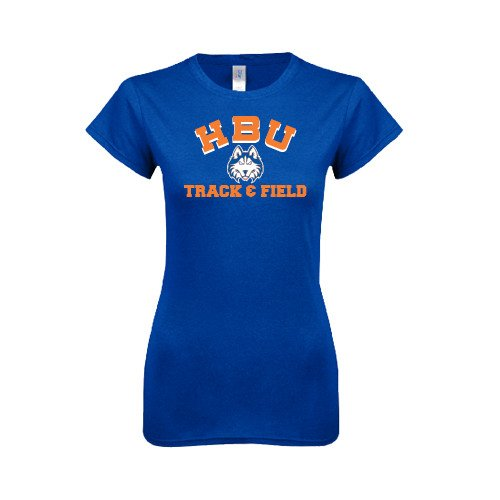 Houston Baptist Next Level Ladies Softstyle Junior Fitted Royal Tee 'Track and Field'