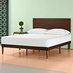 The Zinus Deluxe Mid-Century Wood Platform Bed with headboard works well with any style of home décor. The frame and legs are made of pine and steel to provide strong support for your memory foam, latex, or spring mattress. The Zinus wood pla...