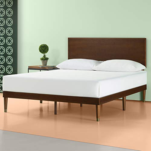 Zinus Deluxe Mid-Century Wood Platform Bed with Adjustable height Headboard, no Box Spring needed, King