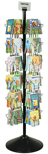 "Spinning Greeting Card Floor Rack with (72) 5x7 Pockets, 70"" Tall Rotating Wire Stand - Black Wire Construction with Plastic Base and Sign Holder"