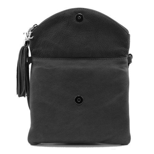 Tuscany Leather - Bolso al hombro de piel de cerdo para mujer negro negro