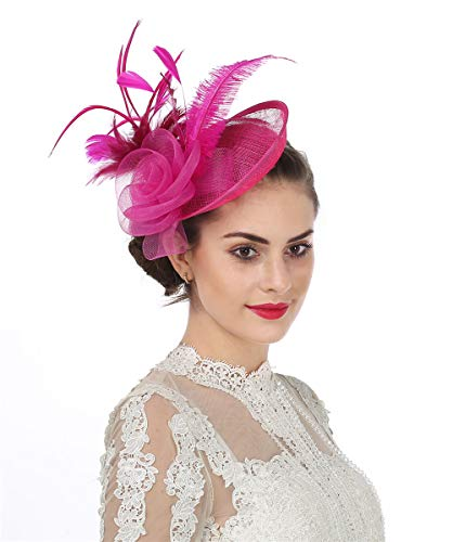 f83604f54657a SAFERIN Fascinators Hat Flower Mesh Feathers Sinamay on a Headband and a Clip  Tea Party Headwear