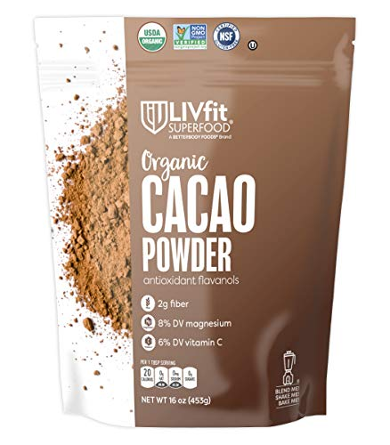 LIVfit Superfood Organic Cacao Powder - 100% Raw Organic Cacao Powder, Enjoy A Delicious And Guilt-Free Chocolate Superfood, Good Source of Vitamin C, Produced by BetterBody Foods - 1 lb ()