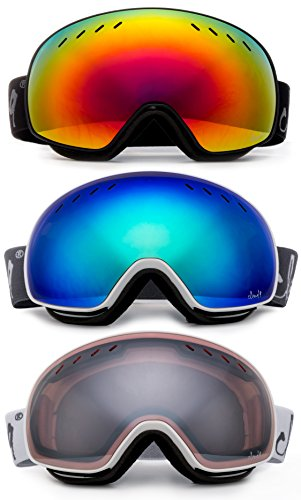 Cloud 9 - Professional Performance Ski Goggles Adult Anti-Fog Double Dual Lens Triple Layered Foam Padding UV Protection Wide Angle Mirror Windproof Snowboarding Snow Goggles Men Women (2018 - Mirror Male Model