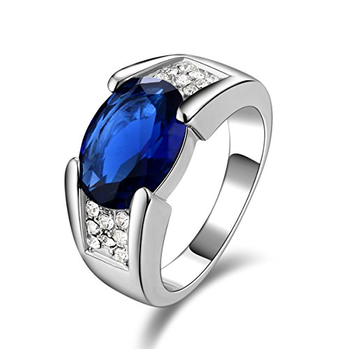 - Huanhuan Jewelry Solitaire-Style White Gold Plated Blue Sapphire Vintage and Fashion Wedding Band Rings for Mens Size 10 with Classic Cubic Zirconia