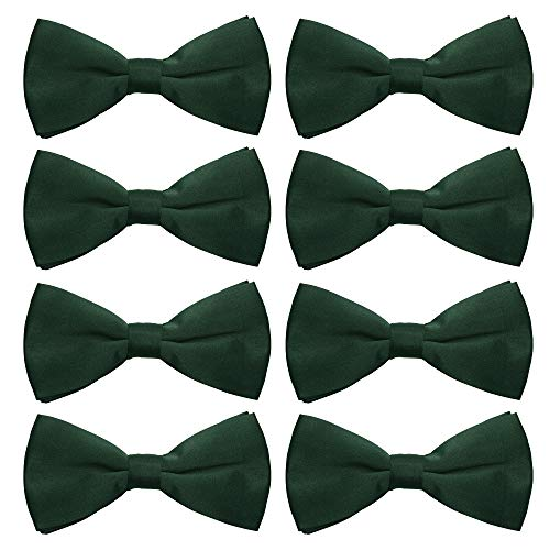 AVANTMEN Men's Bowtie 8 Pack Classic Pre-Tied Satin Formal Tuxedo Bow Tie Adjustable Length Large Variety Colors Available (Hunter Green) (Bow Green Tie Hunter)