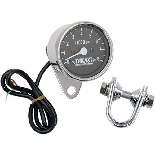 Drag Specialties 2211-0104 2.4in. Mini Elecrtonic Tachometer - Black Face with White ()