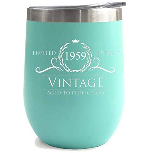1959 60th Birthday Gifts for Women or Men - Vintage Aged to Perfection Stainless Steel Tumbler -12 oz Mint Tumblers w/Lid - Funny Anniversary Gift Ideas for Him, Her, Husband or Wife. Insulated Cups -