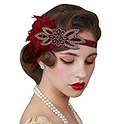 1920s Vintage Feather Elastic Flapper Headpiece