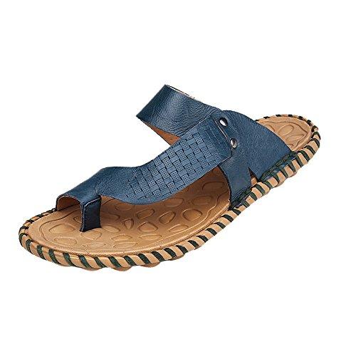HanWay H&W Mens Real Leather Summer Flip Flops Soft Anti-Skid Soles Blue