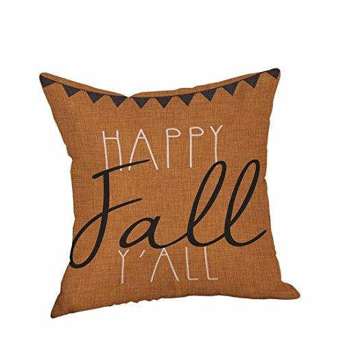 Happy Fall Yall Halloween Flax Pillow Cases Cushion Cover Sofa Home Decor (D)