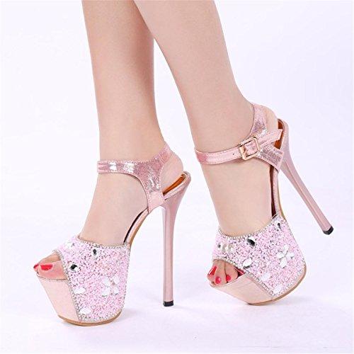 Pink Chiffon Zapatos Sandalias 36 De Alto Nightclub 4 Mujer Club Flower Tacón Party Super Plataforma 5 Toe Nuevo Eur 3 uk Satén Diamantes Peep eur37uk455 Señoras Stiletto Spring Nvxie zqZpXp