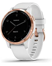 Garmin 010-02172-22 vivoactive 4S, Smaller-Sized GPS Smartwatch, features Music, Body Energy Monitoring, Animated workouts, Pulse Ox Sensors and More, White/Rose Gold , White/rose Gold