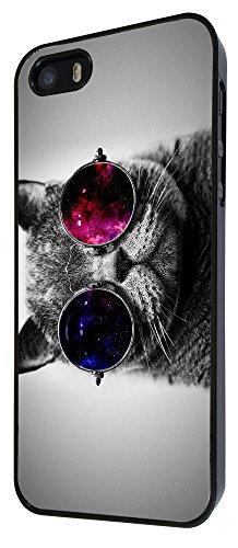 560 - Cute Cool Cat Sunglasses Funky Design iphone 5 5S Coque Fashion Trend Case Coque Protection Cover plastique et métal - Noir