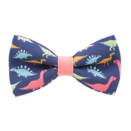 Dinosaurs bow tie pre-tied pattern blue-peach colors unisex shape, by Bow Tie House (Medium)