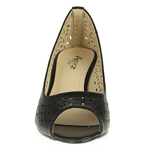 matt Office black LONDON Shoes Slip Sandal Comfort On Work Size Smart Womens AARZ Ladies Casual Heel Wedge Peeptoe xTnw0Hngq