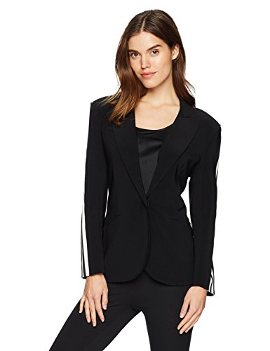 Norma Kamali Women's Side Stripe Single Breasted Jacket, Black/Engineered Stripe, (East Side Jacket)