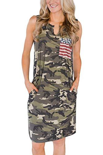 Women 4th of July Patriotic Loose Pocket Casual Camo USA Flag Tank Dress American Flag 2XL