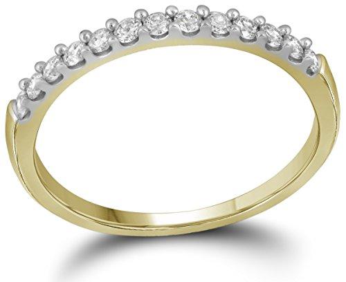 10kt Yellow Gold Womens Round Pave-set Diamond Wedding Band 1/6 Cttw by JawaFashion