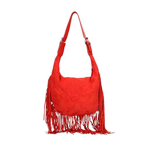 Chicca Borse Piel genuina bolso 40x27x7 Cm Rojo