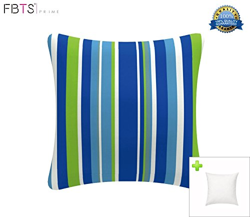 FBTS Prime Outdoor Decorative Pillows with Insert Blue and White Stripe Patio Accent Pillows Throw Covers 18x18 Inches Square Patio Cushions for Couch Bed Sofa Patio ()