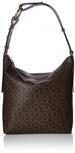 Calvin Klein Women's Liana Monogram Belted Top Zip Slouchy Hobo, Brown/Khaki/Walnut, One Size (Hobo Handbag Belted)