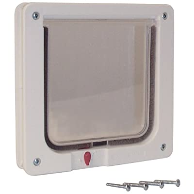 "Ideal Pet Products. Cat Flap Door with 4 Way Lock, 6.25"" x 6.25"" Flap Size"
