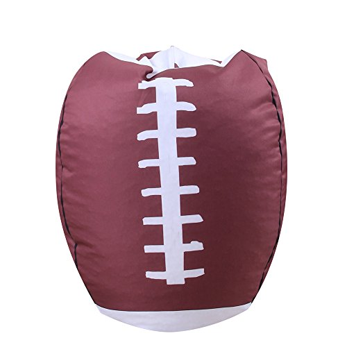 YHOUSE Organize Kids'Stuffed Toys Bean Bag Chair, Basketball Baseball Football Style Toy Organizer for Child Bedroom, Storage Solution for Clothes, Towels and Yarn, 26 Inches (Football)